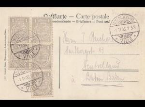 Luxemburg: 1908 Luxembourg nach Baden-Baden - Ansichtskarte