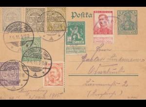 Luxemburg: 1915: Ganzsache Germania -Luxembourg Gare