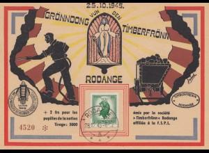 Luxemburg: 1945: Sonderkarte Grönndong vun den Timberfrönn - Bergbau LPPD