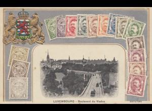 Luxemburg: Postkarte - Briefmarken