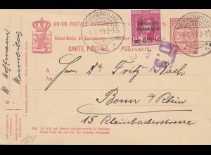Luxemburg: 1919 Wasserbillig Ganzsache nach Bonn