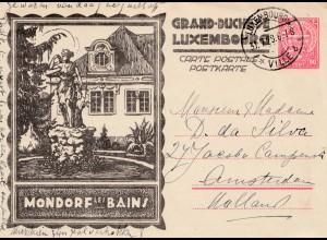 Luxemburg: 1929: Ganzsache Mondorf nach Holland
