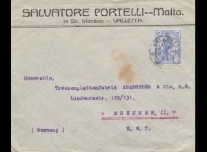 Malta: 1923: Brief nach München