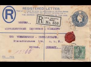 Malta: 1921: Einschreiben Ganzsachenumschlag Valletta nach Weimar
