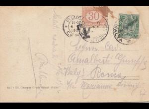 Malta: 1922: Ansichtskarte nach Rom