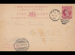 Malta: 1896: Post Card nach Neustadt/Sachsen