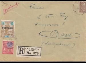 Malta: 1926: Einschreiben Valletta nach Basel