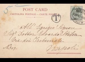 Malta: 1904: Ansichtskarte nach Napoli - Taxe