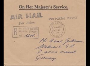 Malta: 1970: Air Mail Einschreiben - Valletta nach Deutschland