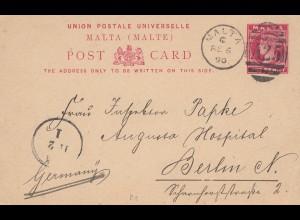 Malta: 1890: Ganzsache nach Berlin