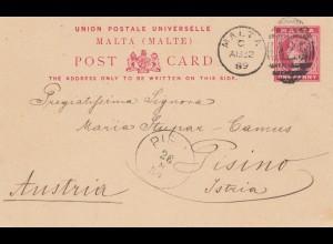 Malta: 1895: Ganzsache nach England
