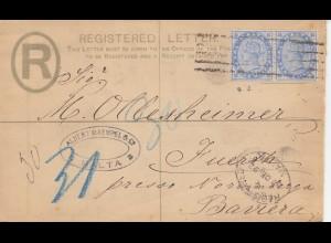 Malta: 1892: Einschreiben nach Fuerth