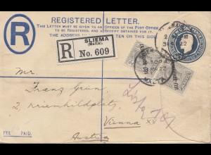 Malta: 1922: Sliema nach Wien- Einschreiben - Ganzsachenumschlag