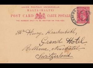 Malta: 1912: Ganzsache in die Schweiz