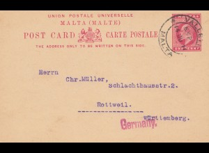 Malta: 1911: Ganzsache nach Rottweil