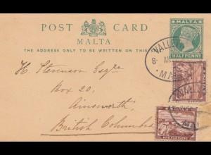 Malta: 1901: Ganzsache nach Ainsworth