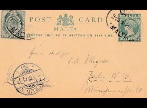 Malta: 1907: Ganzsache nach Berlin