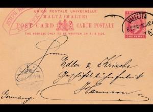 Malta: 1904: Ganzsache Valletta nach Hannover