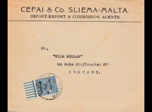 Malta: 1936: Brief nach Dresden