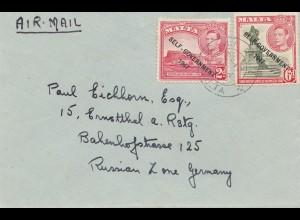 Malta: 1954: Brief als Luftpost nach Ermstthal
