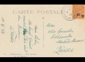 Monaco: 1924 Ansichtskarte nach Zürich