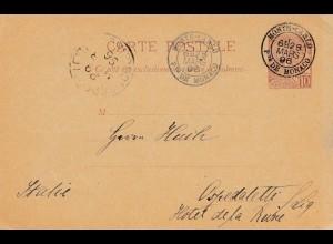 Monaco: 1896: Ganzsache P6 nach Italien