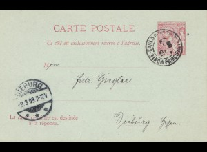 Monaco: 1909: Ganzsache nach Dieburg, mit Anwortkarte ungebraucht