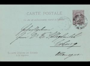 Monaco: 1892: Ganzsache P5 nach Coburg mit ungebrauchter Antwortkarte