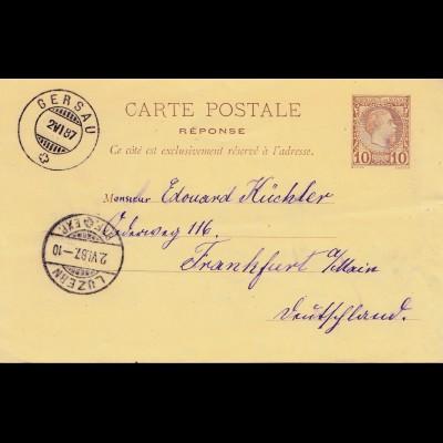 Monaco: 1887 Gersau/Luzern Ganzsache nach Frankfurt