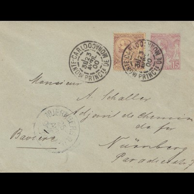 Monaco: 1900 Brief nach Nürnberg