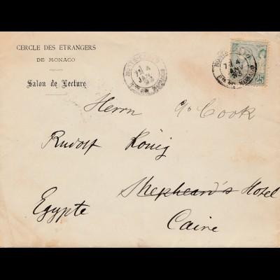 Monaco: 1893 Brief nach Kairo/Ägypten