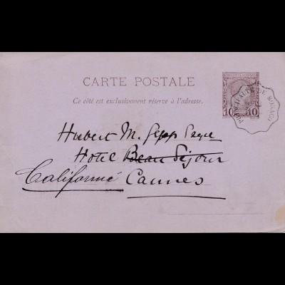 Monaco: 1887: Ganzsache nach Cannes