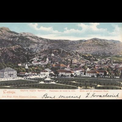 Montenegro: 1903: Ansichtskarte nach Frankreich