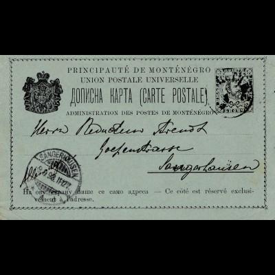 Montenegro: 1898: Ganzsache nach Sangerhausen