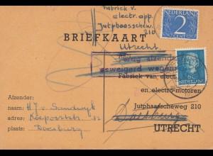 Niederlande: 1952: Briefkaart nach Utrecht - zurück: Elektro Motoren