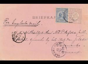 Niederlande: 1893: Briefkaart nach Paramaibo