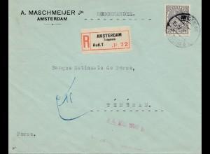 Niederlande: 1935: Einschreiben Amsterdam nach Teheran - Bank National
