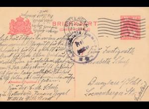 Niederlande: 1918: Ganzsache Rotterdam nach Burglau