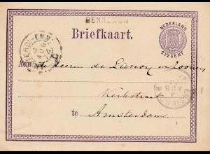 Niederlande: 1874: Ganzsache - Briefkaart nach Amsterdam