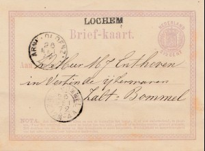 Niederlande: 1872: Ganzsache - Briefkaart nach Zalt Bommel