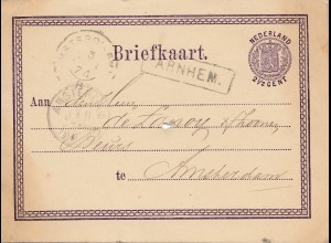 Niederlande: 1874: Arnhem nach Amsterdam -Ganzsache