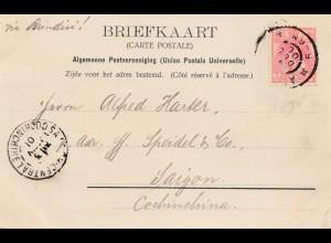 Niederlande: 1901: Ansichtskarte Amsterdam nach Saigon