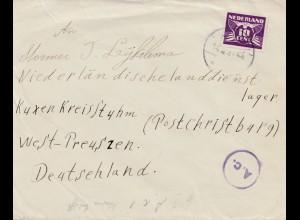 Niederlande: 1944: an Niederl. Landdienstlager -Deutschland - OKW Zensur