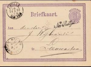 Niederlande: 1874: Ganzsache Zwolle nach Leeuwarden