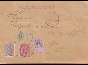 Niederlande: 1898: Einschreiben Amsterdam nach Pirna, Perfin