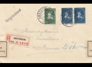 Niederlande: 1938: Einschreiben Amsterdam -Hannover - Devisenüberwachung