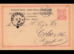 Niederlande: 1884: Ganzsache Köln nach Utrecht - Nachstempelung