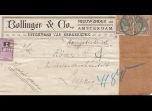 Niederlande: Einschreiben Grossbrief Amsterdam nach Leipzig - Adressteil