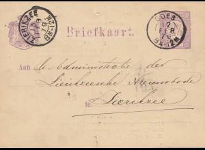 Niederlande: 1879: Ganzsache Goes nach Zierikzee