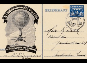 Niederlande: 1944: Ballonpost . Luchtpostcongres Rotterdam